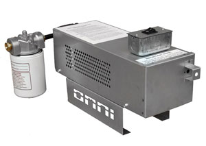 Omni waste (used) oil burner: remote variably controlled fuel (oil) pump (back view).