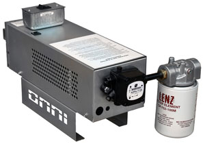 Omni waste (used) oil burner: remote variably controlled fuel (oil) pump.