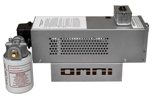 Omni waste (used) oil burner: Omni waste (used) oil burner: remote variably controlled fuel (oil) pump (side view).