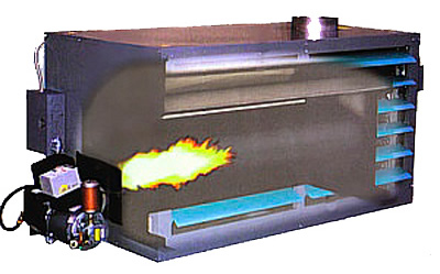 Long combustion chamber of the Omni waste (used) oil heaters eliminates the need for a target plate.