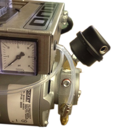 Omni waste (used) oil burner: on-board air compressor pressure gauge and air filter.